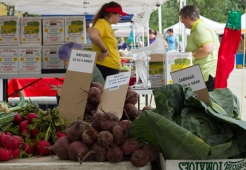 Produce for sale at the Jeffery Farm Inc. stand at the Brookfield farmers market.