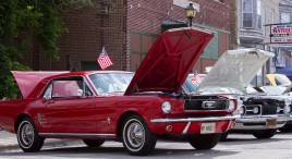 A 1966 Ford Mustang is displayed at the annual Brookfield Chamber of Commerce Car and Bike Show.