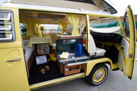 A 1971 Volkswagon West Falia Camper displays its custom work by owners Brad and Maureen Nelson at the annual Brookfield Chamber of Commerce Car and Bike Show.